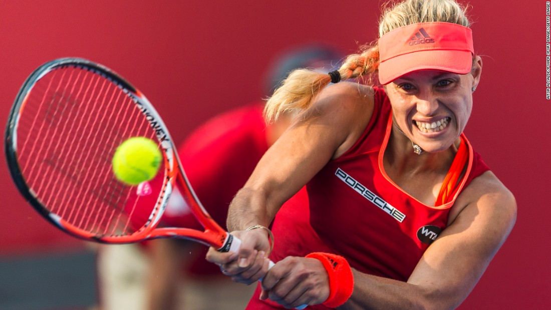 Angelique Kerber hits a shot during the Hong Kong Open on Saturday, October 17.