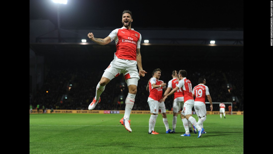 "Arsenal striker Olivier Giroud pumps his fist after scoring against Watford in a Premier League match played Saturday, October 17, in Watford, England. Arsenal won the match 3-0. <a href=""http://www.cnn.com/2015/10/13/sport/gallery/what-a-shot-sports-1013/index.html"" target=""_blank"">See 39 amazing sports photos from last week</a>"