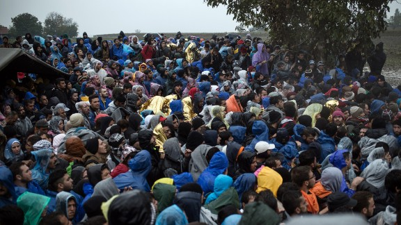 """Migrants in Berkasovo waiting to enter Croatia on Monday. """"We have families, pregnant women, small babies, the elderly, three generations of families, an old woman in a wheel chair,"""" said Melita Sunjic of the U.N. refugee agency."""