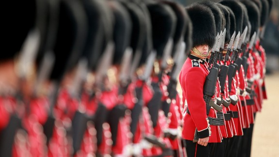Household Cavalry stand at attention ahead of the welcome ceremony.