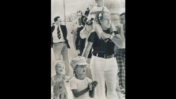 Prime Minister Pierre Trudeau takes  an outing in Winnipeg, Manitoba, while on vacation in 1977 with his sons, from left, Sacha, Justin and Michel. The elder Trudeau was Canada
