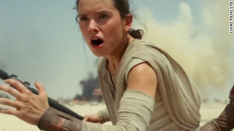 Actress Daisly Ridley is seen in the trailer for Star Wars: The Force Awakens.