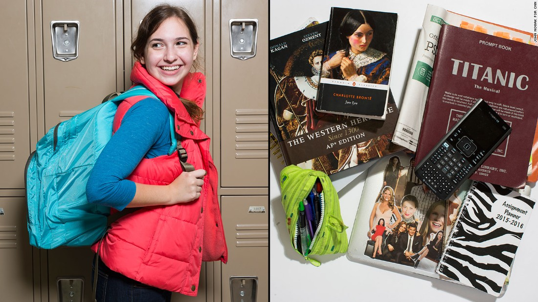 "Allie, an 11th-grade student at Westminster Upper School, said it's tough to get back to her locker between classes, so she tends to carry everything she might need with her, including her script for the musical ""Titanic."""