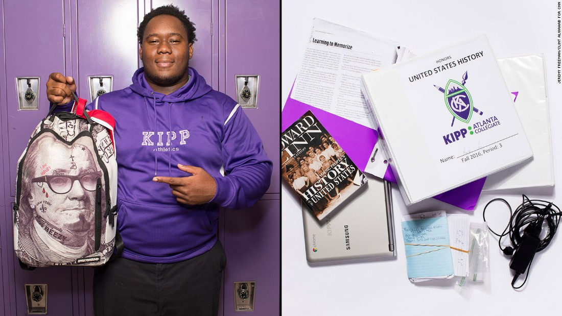 Brandon, an 11th-grade student at KIPP Atlanta Collegiate, said he uses the binder for his favorite class, honors U.S. history, more than anything in his bag. But it also takes up the most space in his backpack, he said.