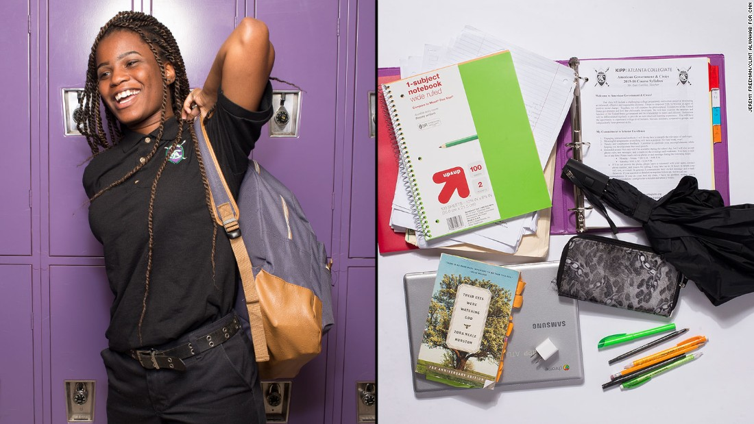 "Sherrell, a 12th-grade student at KIPP Atlanta Collegiate, said she loves reading and writing, and she uses her laptop daily to write college essays and look for scholarships. But if she could stop carrying anything? ""The whole bookbag,"" she said."