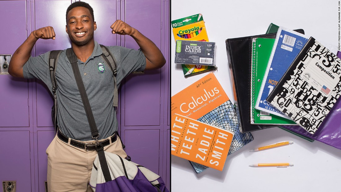 "Erickie, a 12th-grade student at KIPP Atlanta Collegiate, said math is his favorite subject and his calculus book is probably the item he uses most from his backpack -- but it's also the one he wishes he could stop carrying. ""It weighs the most,"" he said."