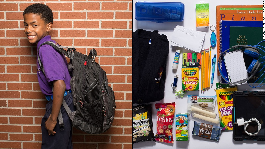"Noah, a third-grade student at KIPP STRIVE Primary, said, ""It feels like I'm carrying a 100-pound baby, but the stuff comes in really handy."" If he could leave anything behind? ""Probably one of my flashlights."""