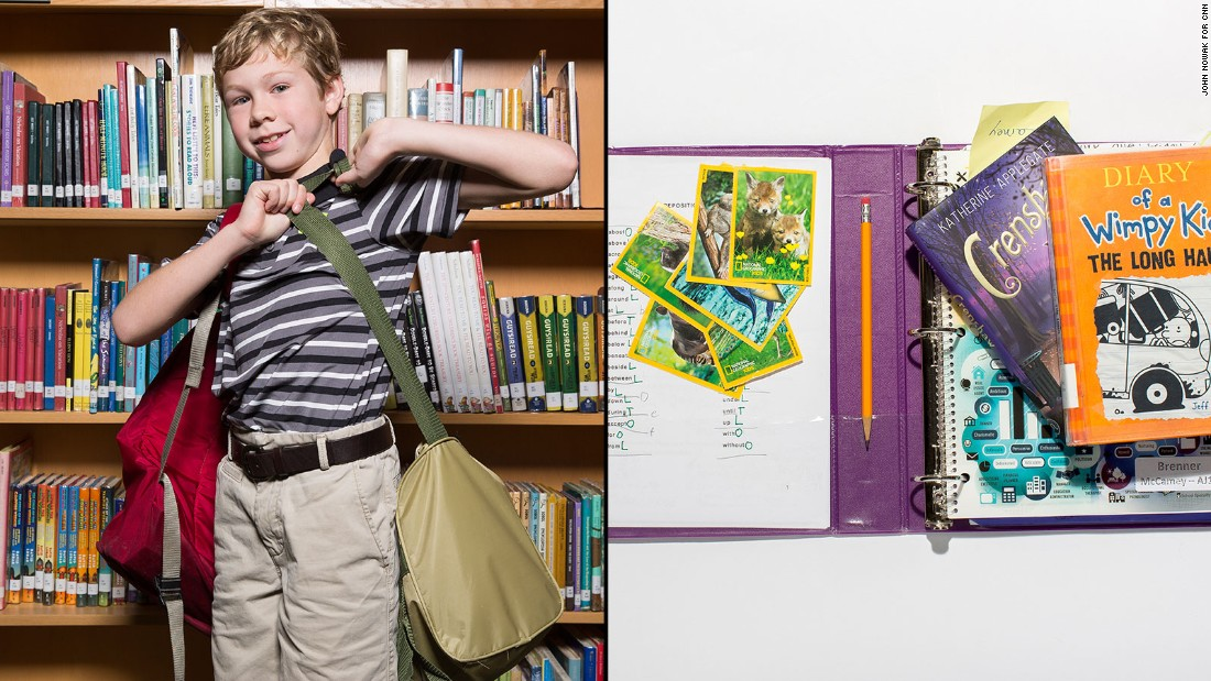 Brenner, a fourth-grade student at Westminster Lower School, said he didn't want to leave anything from his backpack behind, whether it is his books or his National Geographic cards.