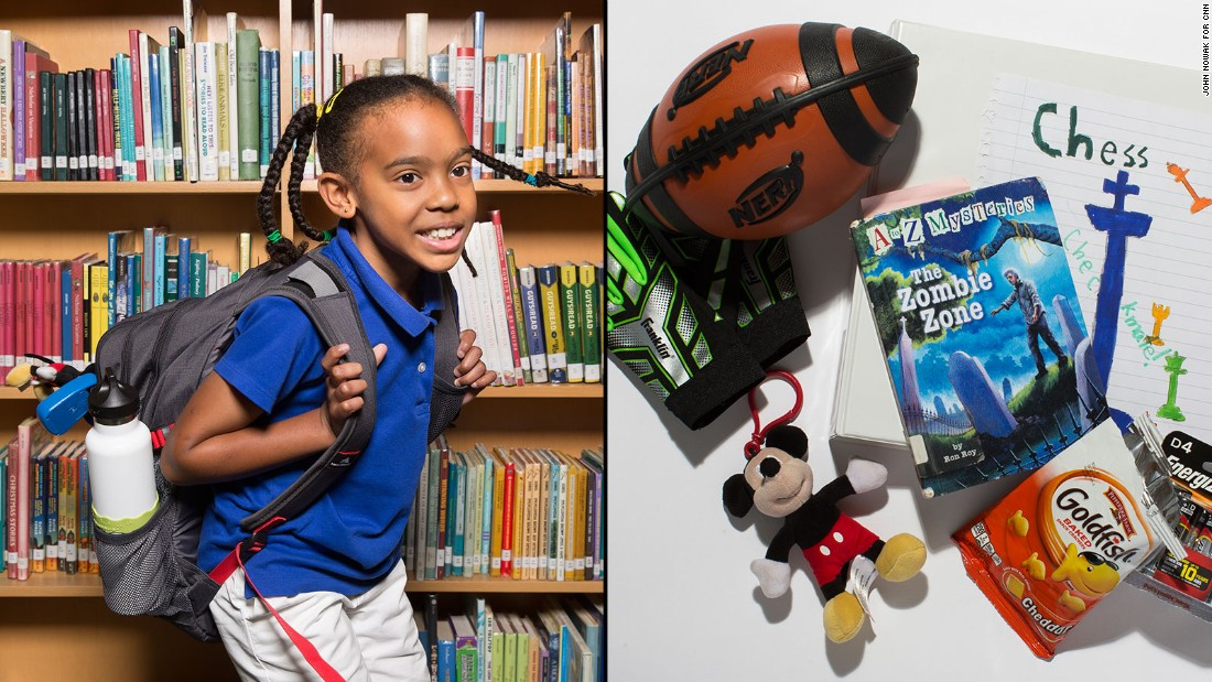 Jaia, a fourth-grade student at Westminster Lower School, said she often carries her keychain collection and books, as well as her cello.