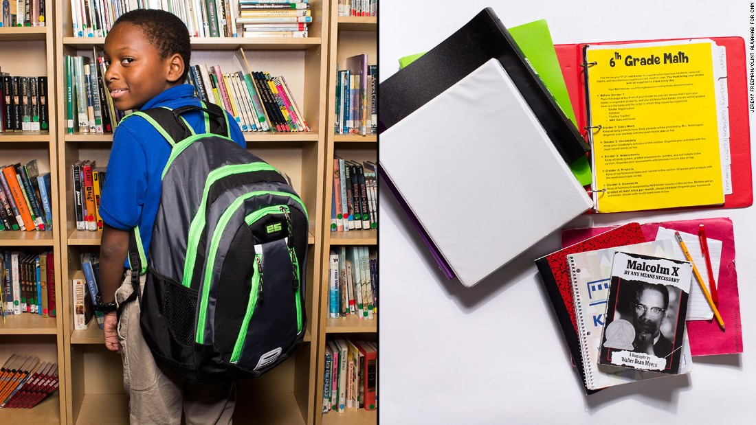 "Jeremiah, a sixth-grade student at KIPP WAYS Academy, said a pencil is the most used item in his backpack, but he still has to carry his homework folder and an extra binder ""for emergencies."""