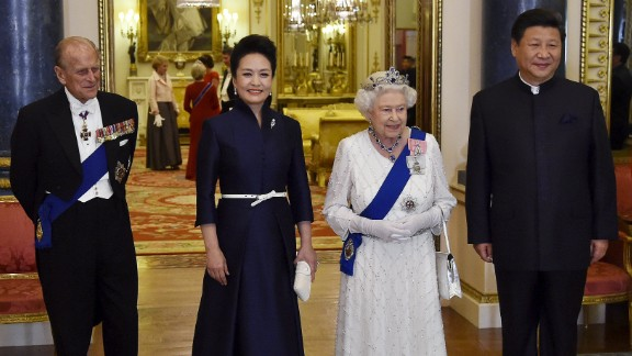The Chinese leader and first lady join Queen Elizabeth II and Prince Philip at a state banquet on October 20.