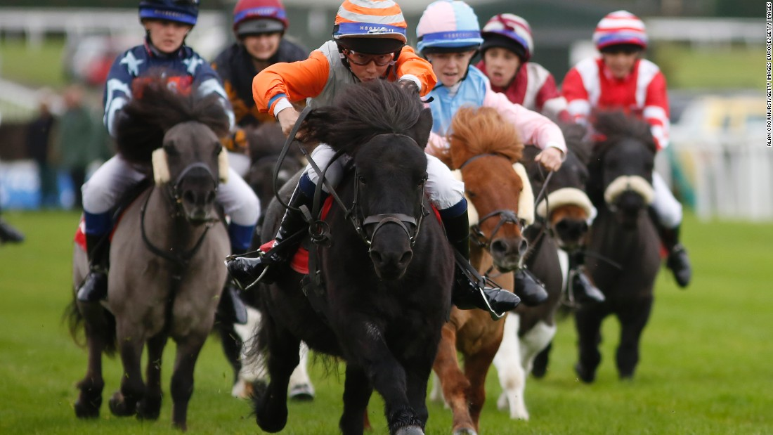 Fourteen-year-old Bradley Kent (in orange sleeves) passed the post first on Bugsey, his second win at the event after heading the pack in 2012.