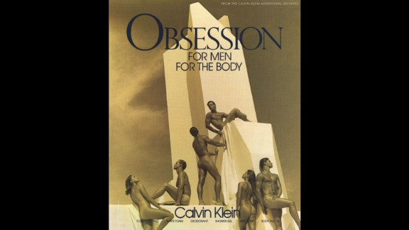 "The work of Bruce Weber in collaboration with Calvin Klein is frequently cited for introducing a ""breakthrough"" in advertising by introducing subtle homoerotic themes. Above in an advertisement for Calvin Klein: Obsession, from 1992."