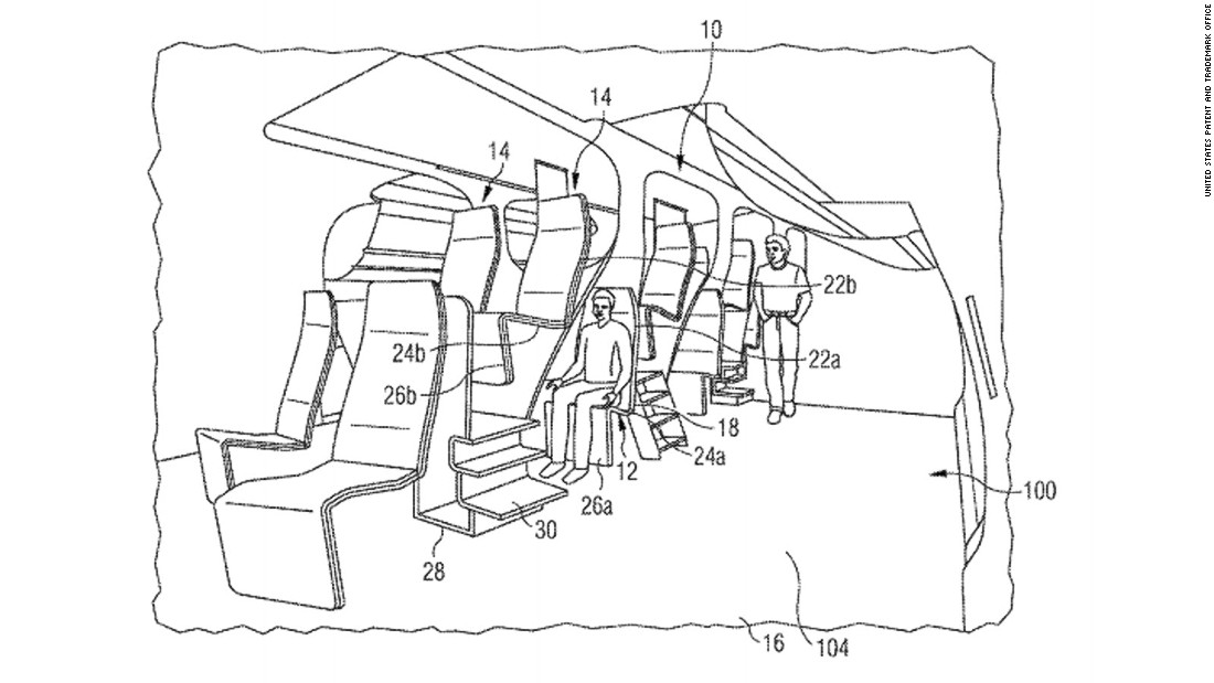 "Airbus has offered a chilling glimpse into what the future of air travel might hold with a patent that envisages <a href=""http://pdfaiw.uspto.gov/.aiw?docid=20150274298&SectionNum=1&IDKey=04108B8962F7&HomeUrl=http://appft.uspto.gov/netacgi/nph-Parser?Sect1=PTO2%2526Sect2=HITOFF%2526p=1%2526u=%25252Fnetahtml%25252FPTO%25252Fsearch-bool.html%2526r=12%2526f=G%2526l=50%2526co1=AND%2526d=PG01%2526s1=airbus%2526OS=airbus%2526RS=airbus"" target=""_blank"">two rows of seats layered on top of each other</a>. The patent states that the design ""still provides a high level of comfort for the passengers"" with seats that could be reclined 180 degrees."