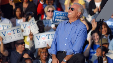 PHILADELPHIA - OCTOBER 10: U.S. Vice President Joe Biden laughs after President Obama remarked that he looked cool in his sunglasses at the Moving America Forward rally October 10, 2010 in Philadelphia, Pennsylvania. Obama and Biden are urging Democrats to come out and vote in the November 2, 2010 general election. (Photo by William Thomas Cain/Getty Images)