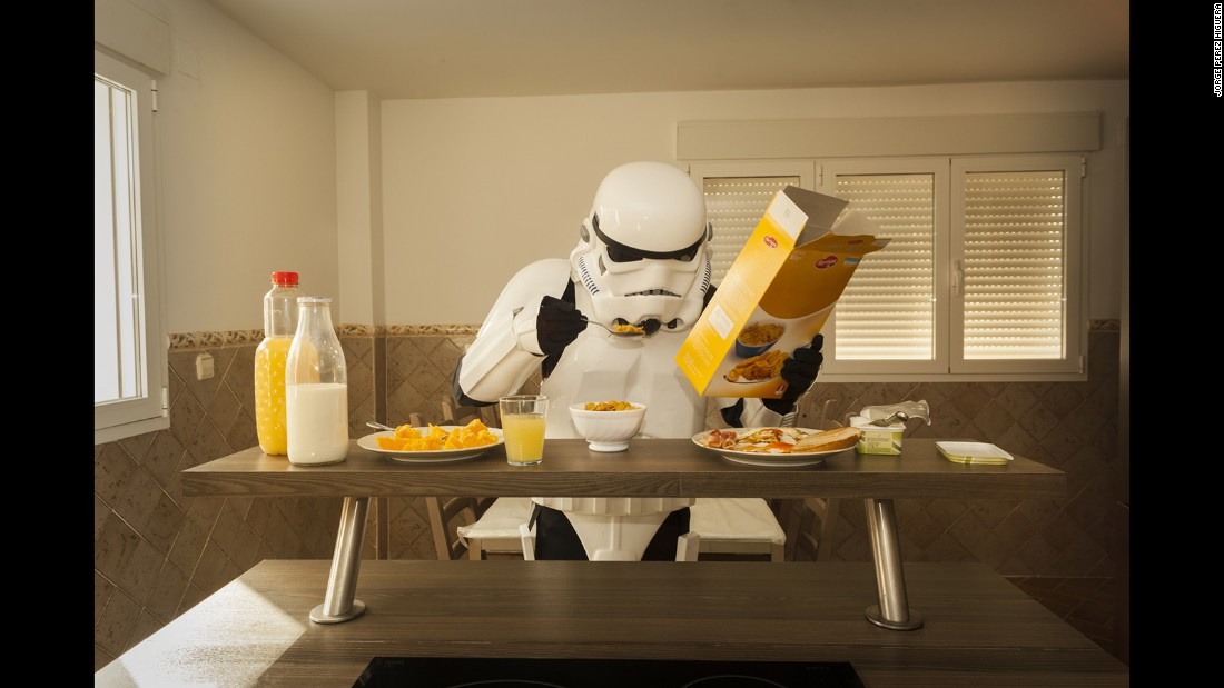 "Spanish photographer Jorge Perez Higuera has published a series of images of ""Star Wars"" Stormtroopers in mundane everyday situations. To Higuera, the witty project explores the relationship between the fantasy world of popular entertainment and most people's everyday reality. The Stormtroopers ""represent the galactic working class,"" he says. ""Let's be honest, if that future existed, we would probably be Imperial soldiers and not heroes or villains."""
