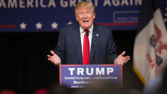 Republican presidential candidate Donald Trump speaks to guests at a campaign rally at Burlington Memorial Auditorium on October 21, 2015 in Burlington, Iowa.