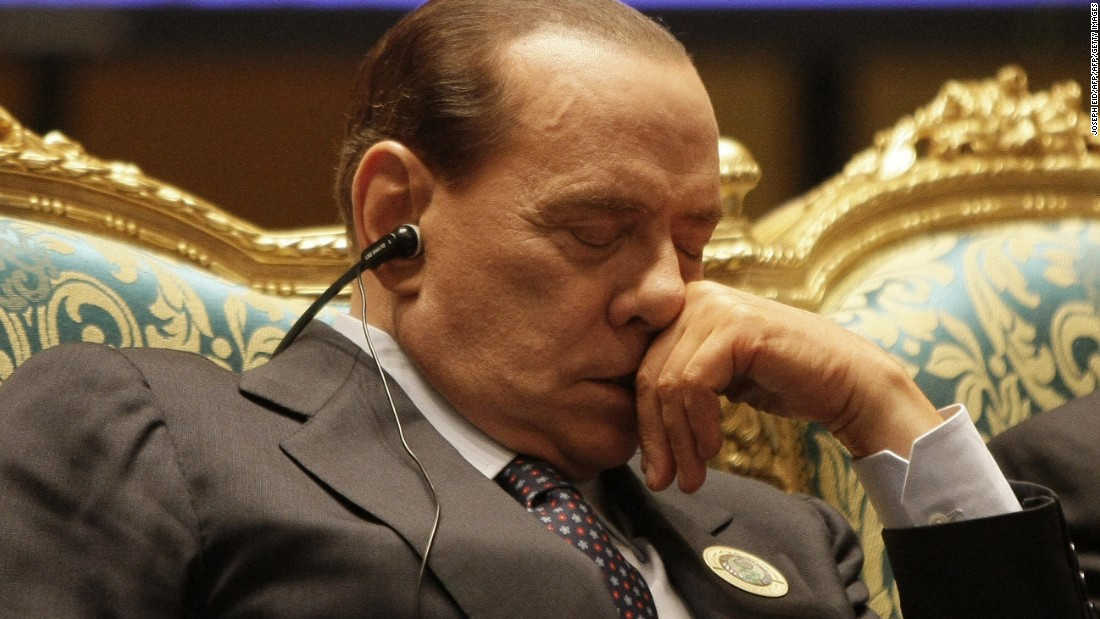Berlusconi also found time to catch a few winks during the opening session at the Arab Summit in Libya in March 2010.