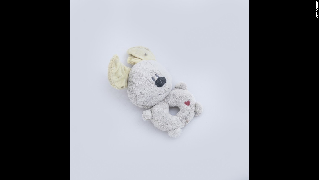 This stuffed animal was found on a beach in Lesbos, Greece, in early September. Photographer Anna Pantelia collected this and other items that were left behind by migrants who traveled to Lesbos by boat.