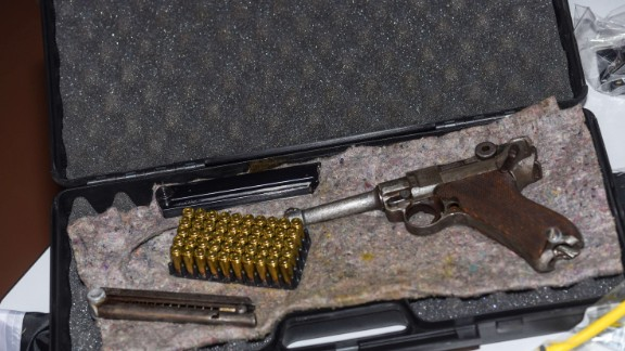A seized Mauser gun dated WWII is on display during a press conference of German police in Bamberg, southern Germany.