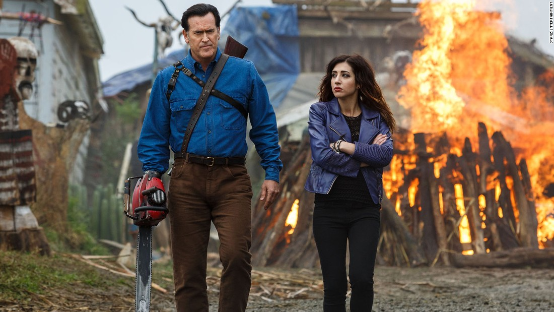"Bruce Campbell's horror movie hero Ash is back, 23 years after the last ""Evil Dead"" film. The dead are back to cause trouble and he's ready to take them on, chainsaw in hand, Halloween night at 9 p.m. ET on Starz."