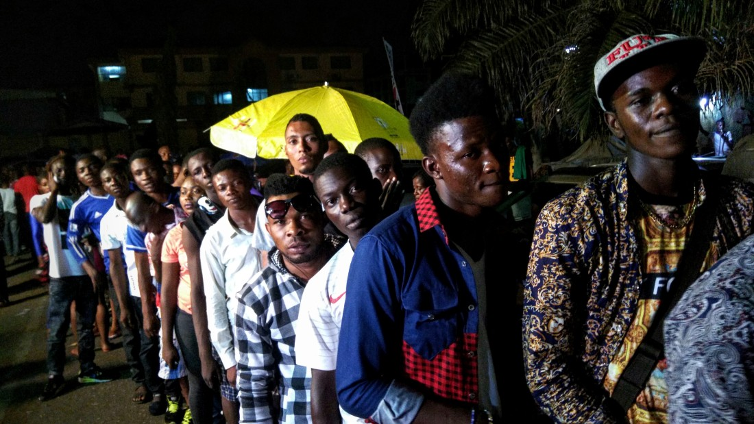 Fans line up to enter a tribute concert to the life of Fela Kuti. (All photos by Christian Purefoy/CNN)