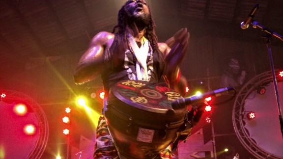 A drummer pounds his instrument at the Felabration