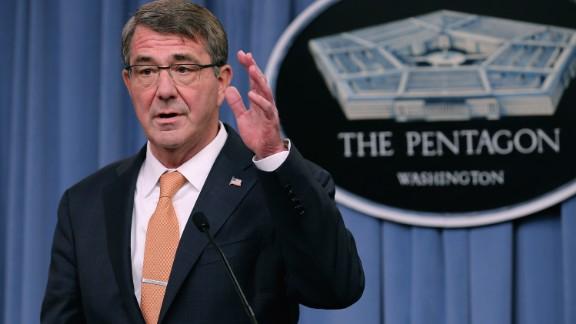 U.S. Defense Secretary Ashton Carter holds a news conference at the Pentagon October 23, 2015 in Arlington, Virginia.