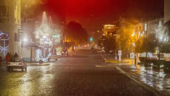 Rains from Hurricane Patricia arrive in Puerto Vallarta on Friday, October 23.