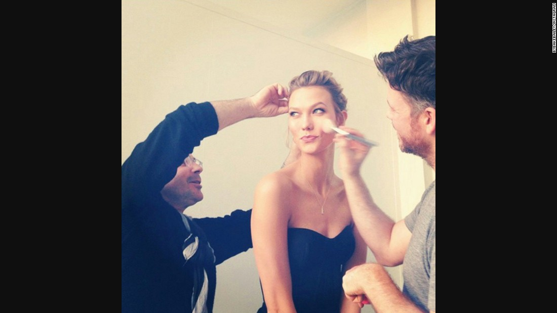 "Bailey posted this <a href=""https://instagram.com/p/wxzrszvhqh/?taken-by=byjakebailey"" target=""_blank"">Instagram photo </a>of Karlie Kloss getting ready for 2014  People Magazine Awards in December. ""Working on a face like that is no work at all,"" he wrote in the caption."