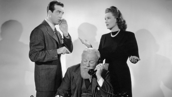 """O'Hara appears with John Payne and Edmund Gwenn (Kris Kringle) in a scene from """"Miracle on 34th Street"""" in 1947. The film also starred a young Natalie Wood."""