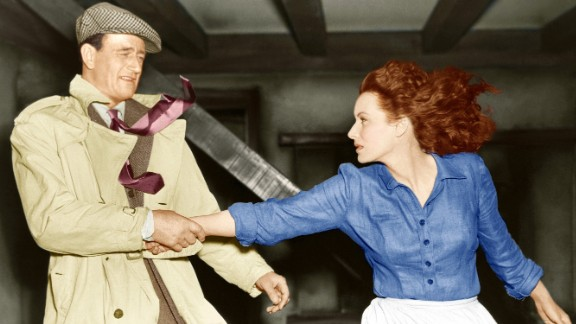 """John Wayne and Maureen O'Hara appear in 1952's """"The Quiet Man,"""" directed by John Ford. It was the second time O'Hara and Wayne appeared on screen together."""