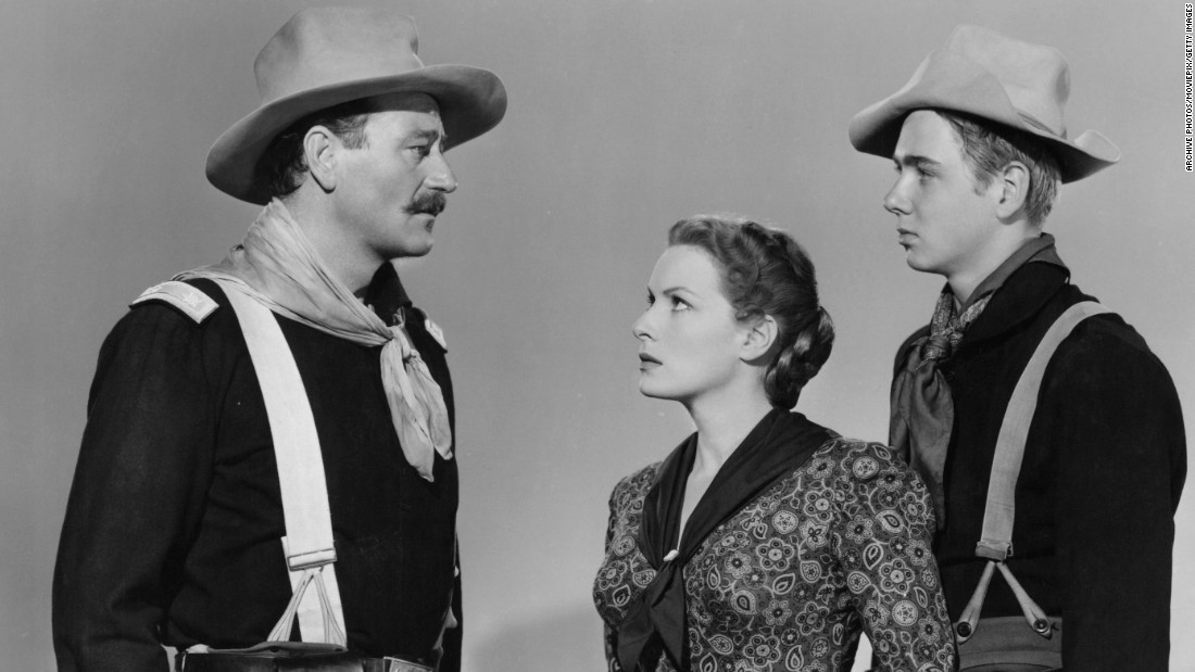"John Wayne, O'Hara and Claude Jarman Jr. in 1950's ""Rio Grande."""