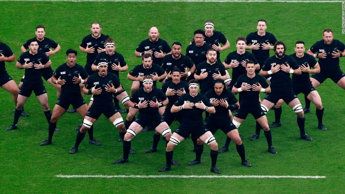 The New Zealand team performs its traditional Haka prior to the start of the semifinal at Twickenham.