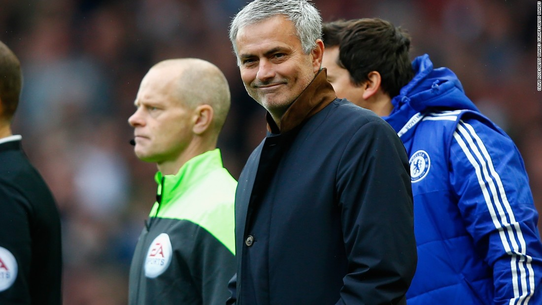 Mourinho gives an ironic smile as the decisions went against him and his side at West Ham.
