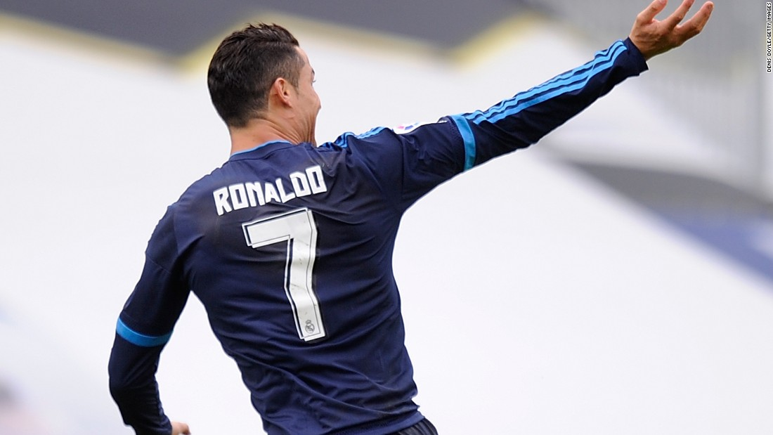 Cristiano Ronaldo celebrates his opening goal for Real Madrid in the 3-1 win at Celta Vigo at Estadio Balaidos.
