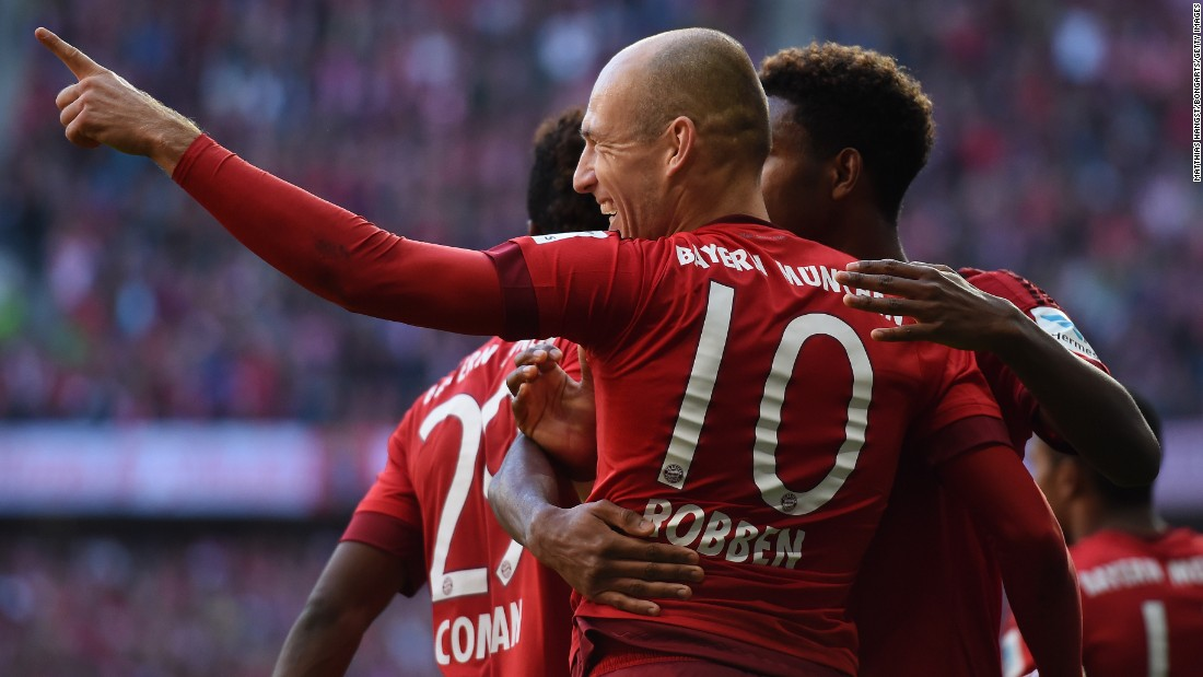 Arjen Robben returned to action for Bayern Munich with the opening goal at the Allianz Arena in the win over FC Cologne.