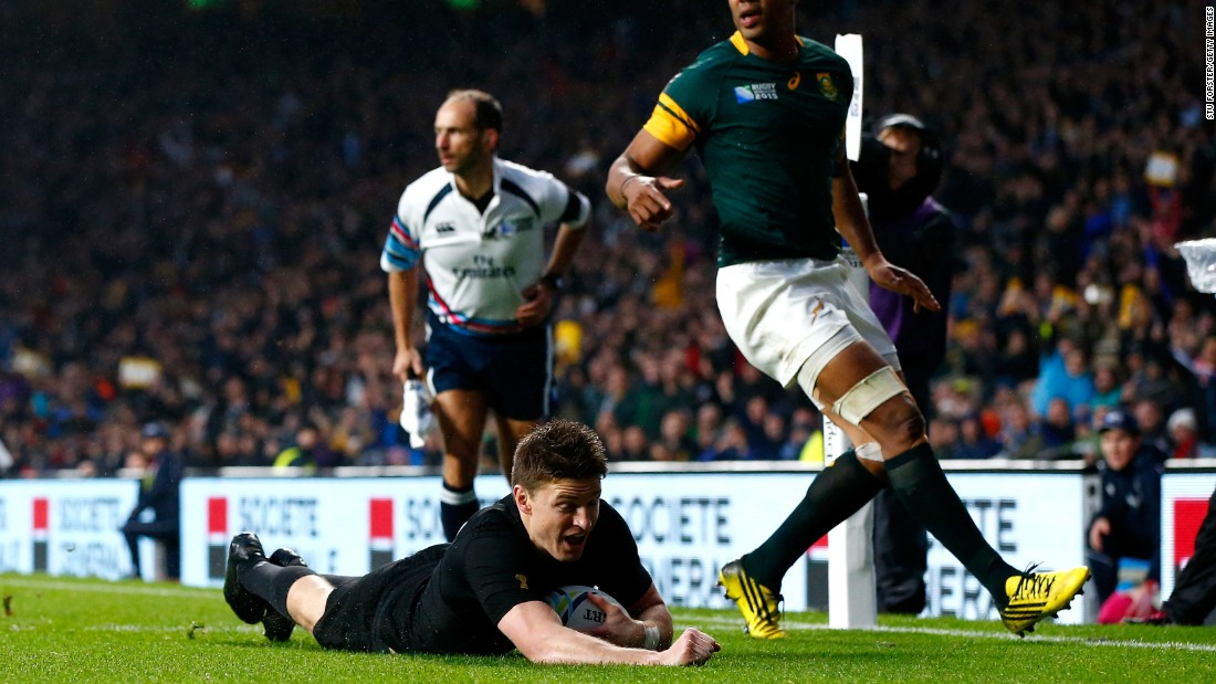 Beauden Barrett slides over for the second All Blacks try in the narrow victory over South Africa to reach the World Cup final.