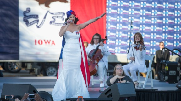Singer Katy Perry rallies supporters of Democratic presidential candidate Hillary Clinton outside the Iowa Events Center before the start of the Jefferson-Jackson dinner on October 24, 2015 in Des Moines, Iowa.