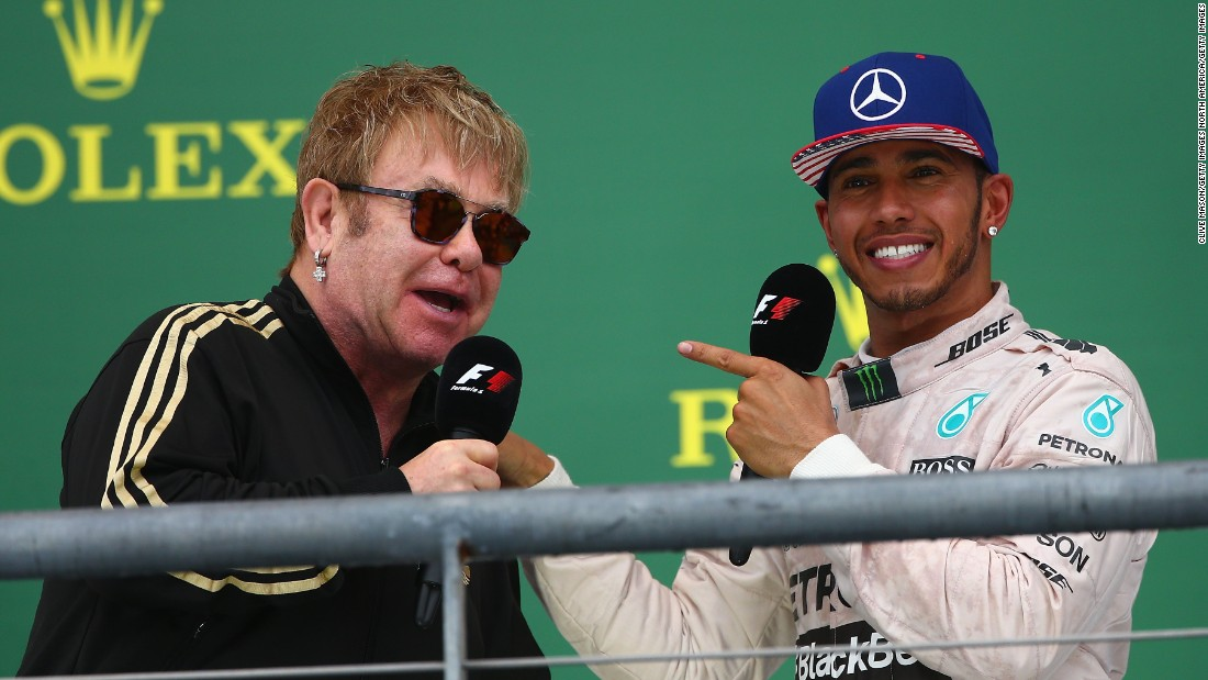 Hamilton was interviewed on the podium after the race by singer Sir Elton John.