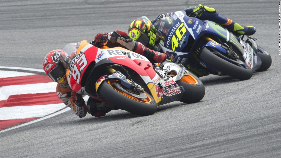 The Repsol Honda Team's Marc Marquez leads archrival Valentino Rossi of Italy and Movistar Yamaha MotoGP during the MotoGP of Malaysia. Tensions between the two would boil over at the Sepang Circuit.