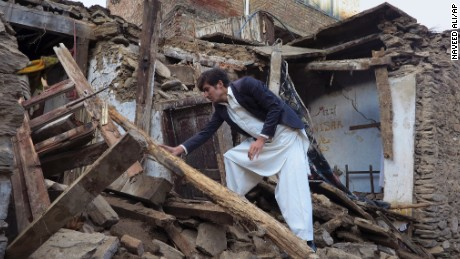 This house was damaged by a massive earthquake in Mingora, the main town of Swat valley.