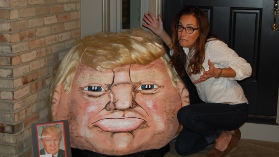Meet Donald Trumpkin, a giant pumpkin that looks a bit like GOP presidential candidate Donald Trump. The creator, Jeanette Paras, has been taking celebrities and noteworthy people and making them into caricatures on pumpkins for more than 25 years.