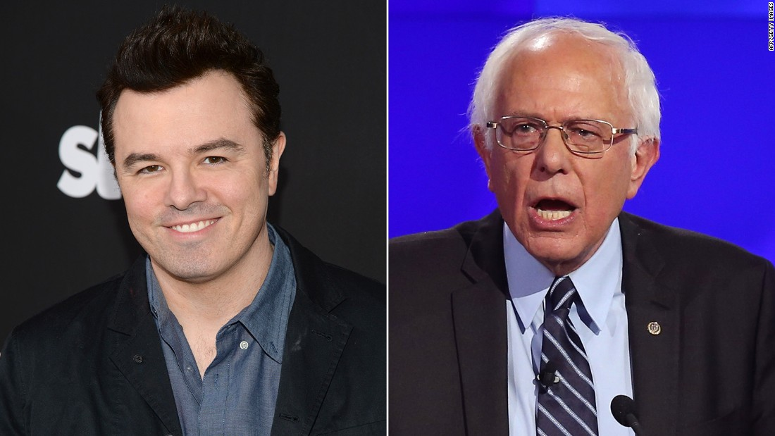 """Family Guy"" creator Seth MacFarlane is a Sanders supporter. He introduced the Vermont senator at a rally in October, <a href=""https://www.youtube.com/watch?v=EiPf3dz6ljc"" target=""_blank"">telling the crowd</a>, ""He's the only candidate on either side who truly seems to grasp the magnitude of the catastrophe (of climate change)."""