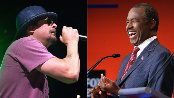 """In an interview with The New York Times magazine, musician Kid Rock said that he was """"very interested"""" in the things Republican presidential candidate Ben Carson has to say."""