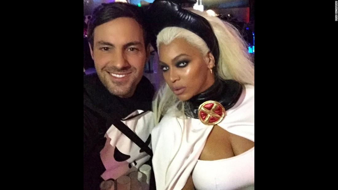 Comedian Jeff Dye posted this selfie with Beyonce on Sunday, October 25, after attending singer Ciara's superhero-themed 30th birthday party. Beyonce was dressed as X-Men's Storm and Dye was Marvel's Punisher.