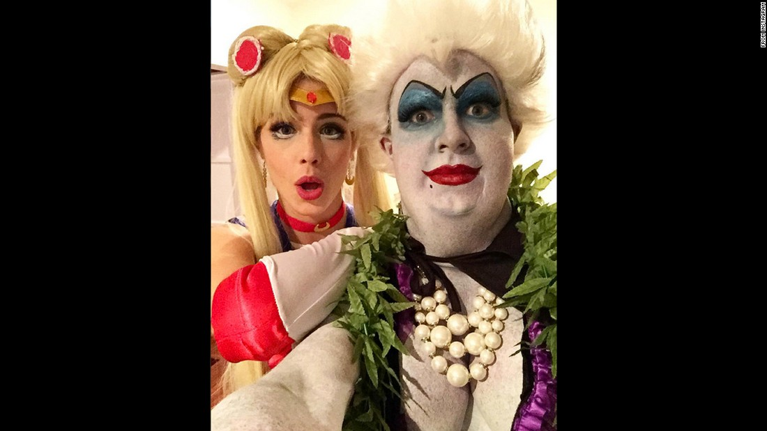 "Actor Colton Haynes and actress Emily Bett Rickards reveal their Halloween costumes in a selfie shared on Instagram on Sunday, October 25. Haynes was Ursula from ""The Little Mermaid"" and Rickards was Sailor Moon."