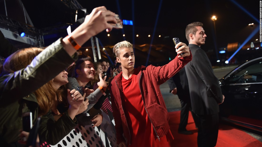 Justin Bieber takes a selfie at the MTV Europe Music Awards in Milan on Sunday, October 25.