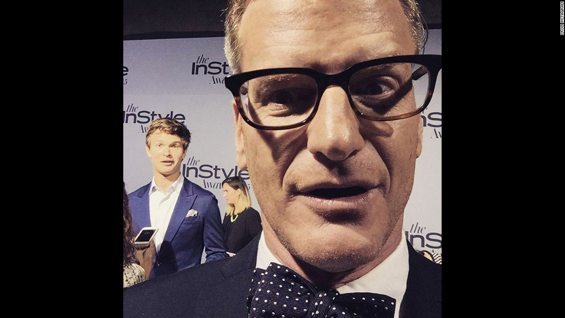 E! journalist Marc Malkin posted this selfie with actor Ansel Elgort in the background after the InStyle Awards on Monday, October 26.