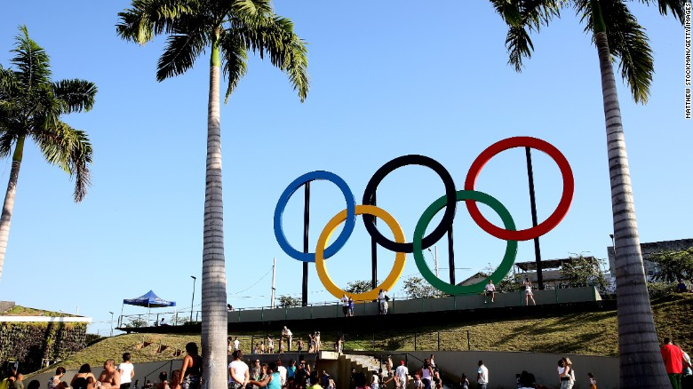RIO DE JANEIRO, BRAZIL - JUNE 04:  The Olympic Rings rise above Madureira Park on June 4, 2015 in Rio de Janeiro, Brazil.  (Photo by Matthew Stockman/Getty Images)